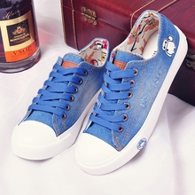 Free shipping Spring and Autumn new canvas shoes to help low flat with lace cowboy cartoon cute casual shoes