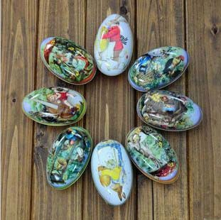 Free ship1lot16pcnew easter egg tin case creative candy fairy free ship1lot16pcnew easter egg tin case creative candy fairy tale egg packaging gift box egg shaped tin box in storage boxes bins from home negle Images