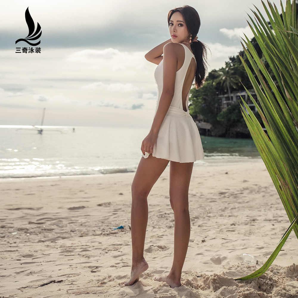 Shanqi спандекс купальный костюм женский комбинезон Тип крышка живот Показать Тонкий небольшой собрать вместе сексуальный горячий купальник платье