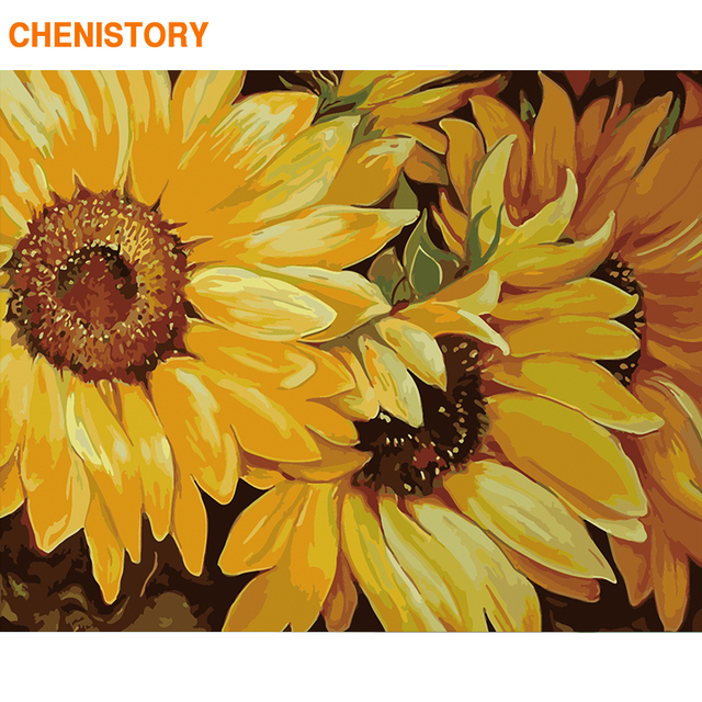 CHENISTORY Frame Sunflower DIY Painting By Numbers Acrylic Paint By Number Handpainted For Home Decor Calligraphy Painting 60x75