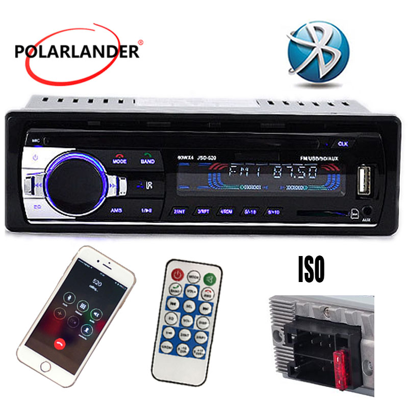12V Car Radio Stereo Bluetooth 12Pin / ISO Auto Audio Player Phone AUX-IN MP3 FM USB SD card 1 Din Remote Control image