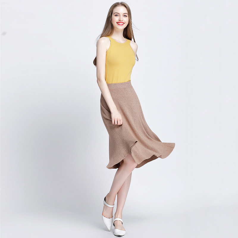 GOPLUS High Waist Knitted Skirts Women Solid Soft Cotton Elastic Midi Skirts 2019 New Spring A Line Vintage Casual Skirts Female in Skirts from Women 39 s Clothing