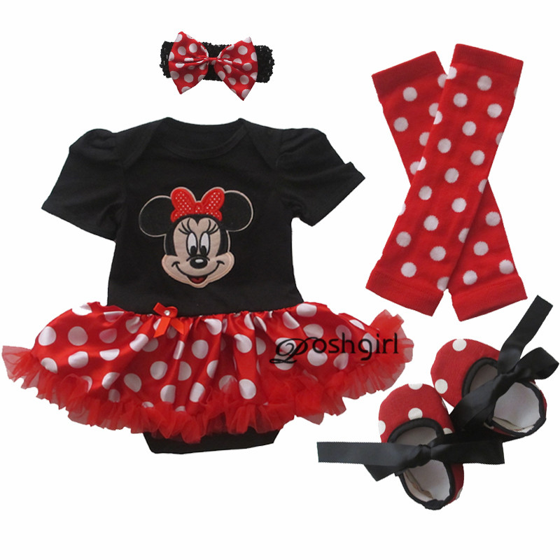 Girl onesies Cartoon Minnie Tutu Gauze Christmas Short Sleeve Romper Dress 4Pcs Outfit Set Toddlers Clothing Bebe Tulle Vestidos