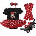 Girl onesies Cartoon Minnie Tutu Gauze Christmas Short Sleeve Romper Dress 4Pcs Outfit Set Toddlers Clothing Bebe Tulle Vestidos