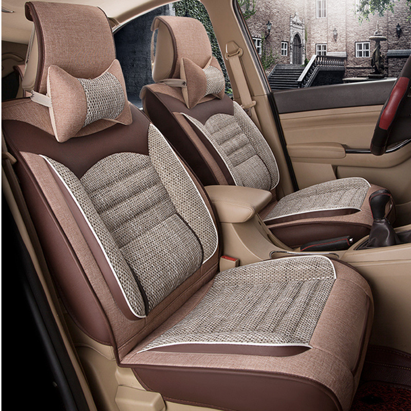 Universal Car Seat Cover Fiber Linen Front Cushion 3D Car styling Seat Covers Automobiles for Toyota