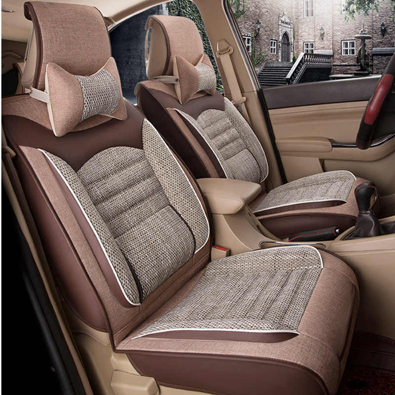 Universele Autostoel Cover Fiber Linnen Voorkant Kussen 3D Auto-styling Stoelhoezen Automobiles voor Toyota voor HYUNDAI 1 STKS 3 Gekleurde