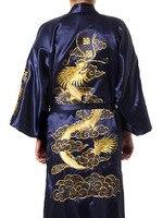 Navy Blue Chinese Men Silk Satin Robe Novelty Traditional Embroidery Dragon Kimono Yukata Bath Gown Size