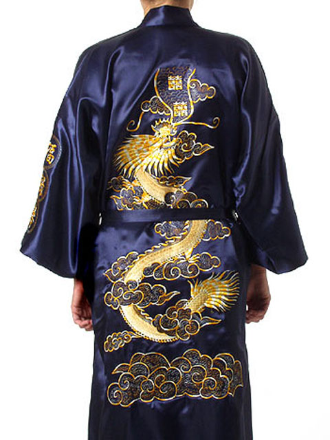 Navy Blue Chinese Men Silk Satin Robe Novelty Traditional Embroidery Dragon Kimono Yukata Bath Gown Size S M L XL XXL MR002