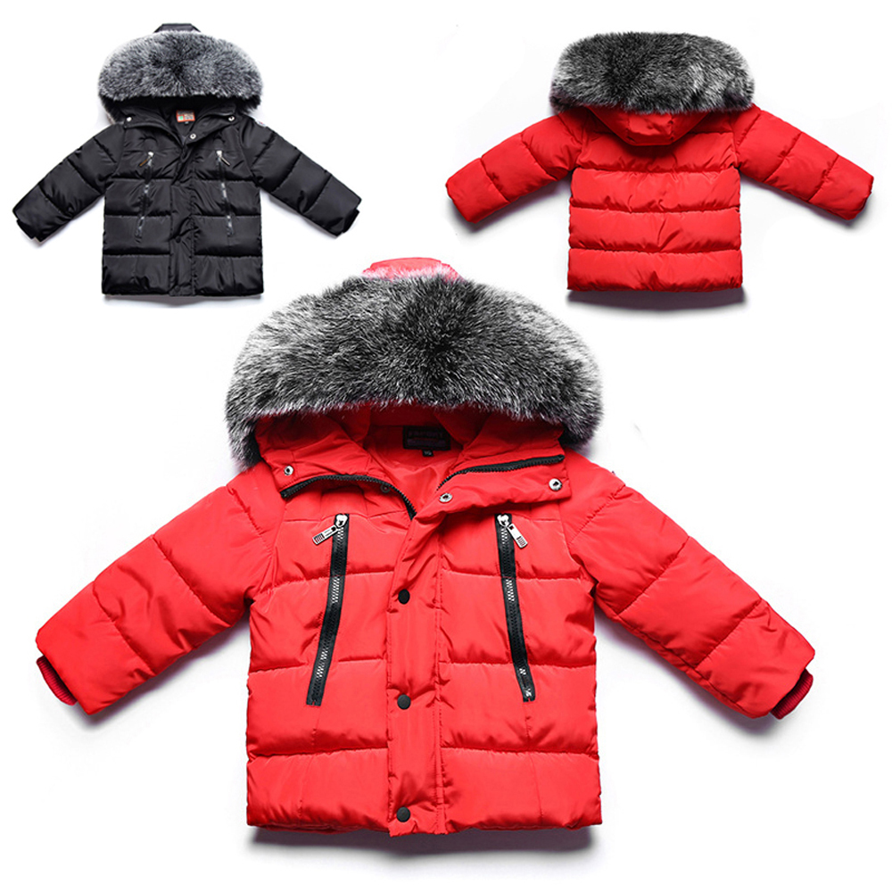 цены Kids Boys Faux Fur Collar Hooded Parkas Coat Cotton Padded Thicken Warm Jackets Children Solid Winter Outwear Baby Puffer Coat