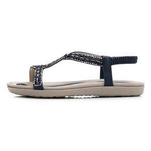 Image 2 - Beyarne verão mulher gladiador apartamentos sandálias mulher casual bohemia luz cristal talão flip flop sandálias de praia do sexo feminino