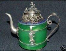 design antique monkey dragon green tea silver jade Tibet  tools wedding Decoration Brass