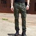 2017 Primavera Outono Bolsos Camuflagem Calças Homens Heterossexuais Calça Militar Longo Calças de Carga Pantalon Homme #162025