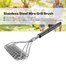 Grill Brush Barbecue BBQ Clean Tool Stainless Steel Wire Spring Bristles Non-stick Cleaning Brushes With Handle