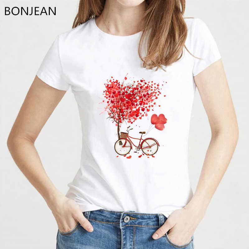 Vendita calda rosso di amore delle donne della maglietta palloncini bicicletta albero stampato bianco t shirt femme di estate superiore femminile tumblr vestiti streetwea