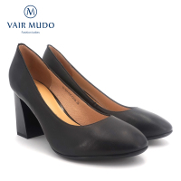 VAIR MUDO High Quality Genuine Leather Pumps Sheepskin Comfortable Round Toe High Thick heel Office Career woman's Pumps D103