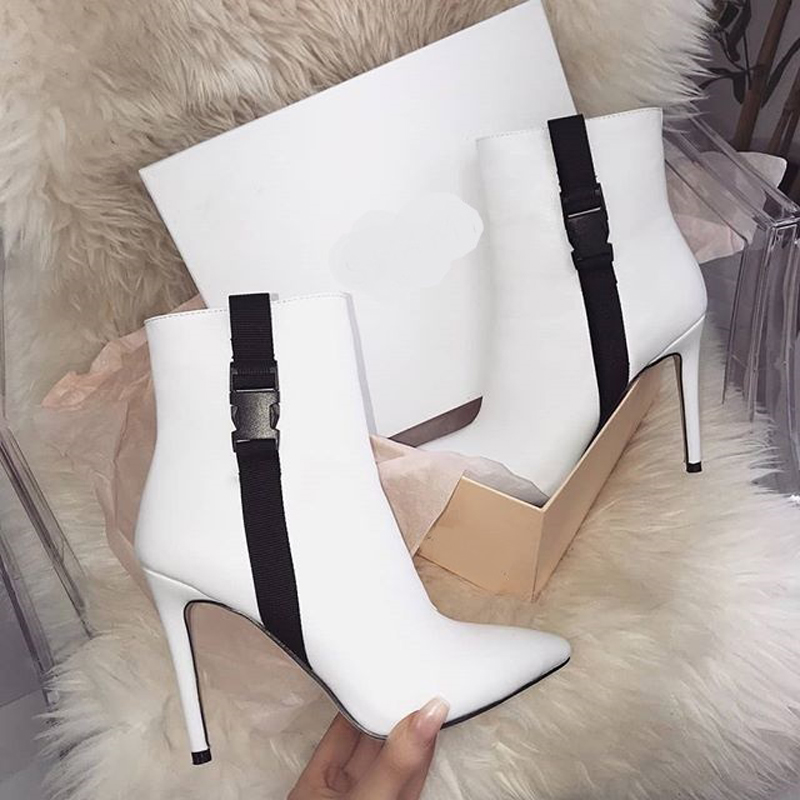 Plus Size 35-42 High Heel Shoes Autumn Women Pointed Toe High Heels Boots Fashion White Ankle Boots Black Flock Womans Boots