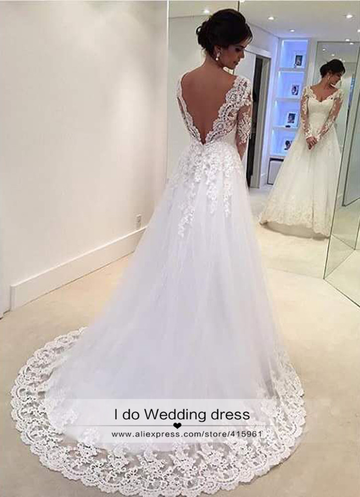 a089a27529 White Vintage Wedding Gowns Lace Long Sleeve Open Back A Line Sexy Indian Bridal  Dresses Backless Country Robe de mariage Z376-in Wedding Dresses from ...