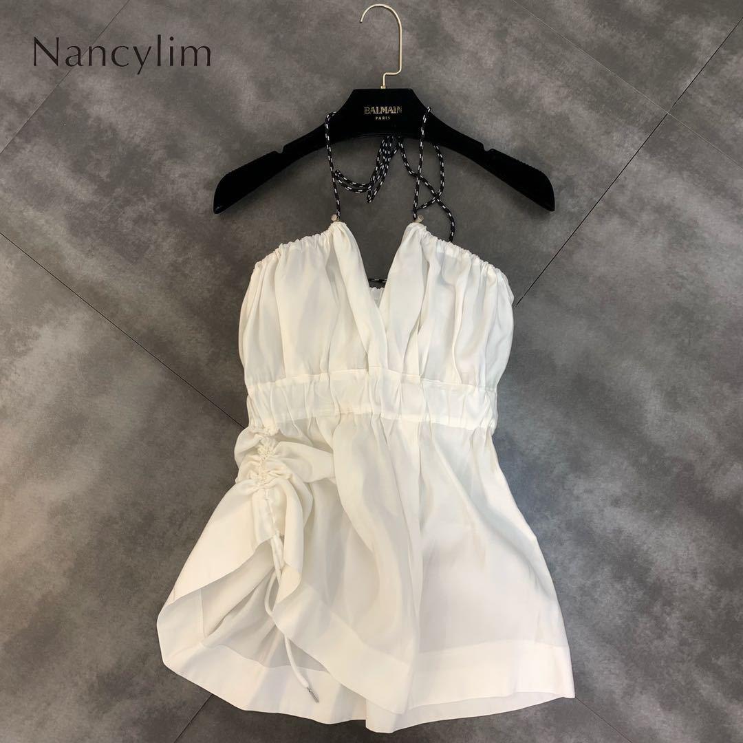 Été 2019 nouvelle corde col en V taille haute cordon Sexy petite femme Camisole réservoirs chemise dame Bohe chemises fête Vestidos Top
