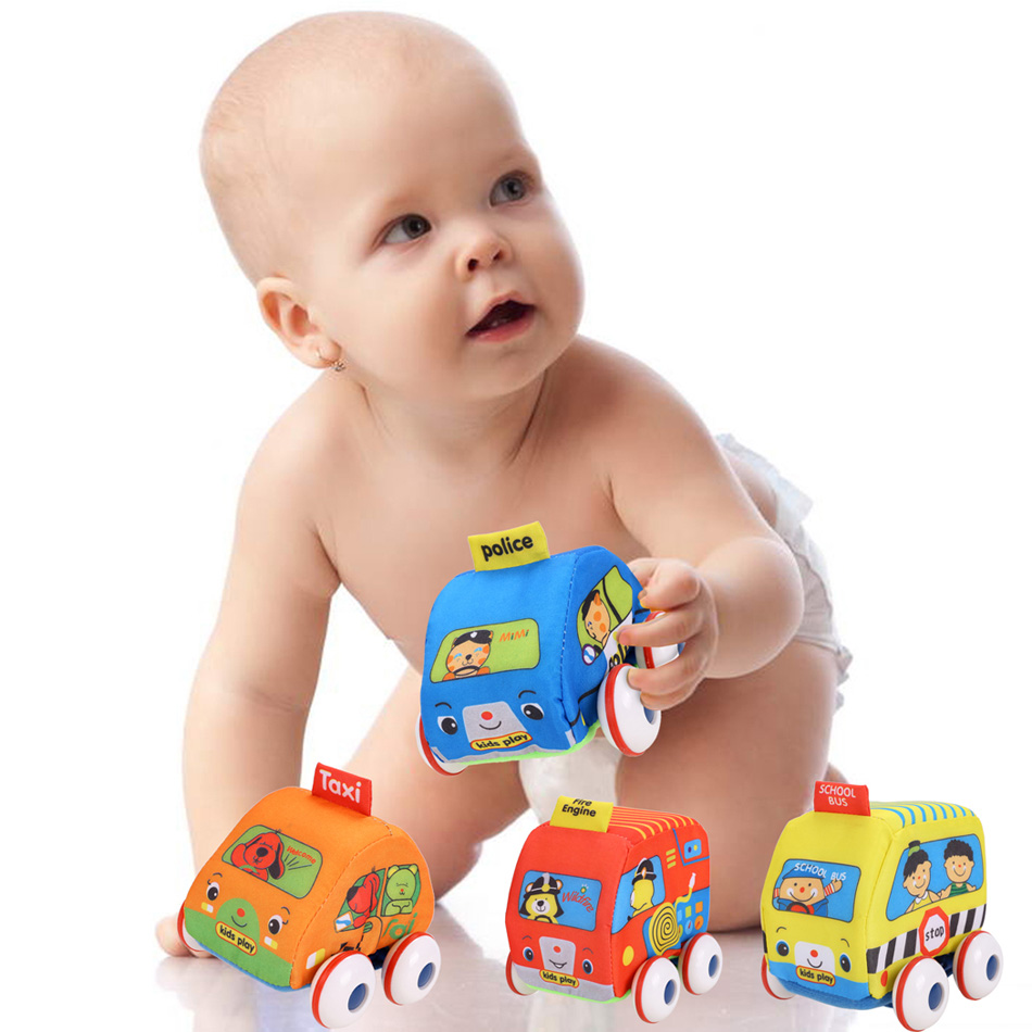 Baby Toys Educational Early Childhood DIY Toy Fire Engines Pull-Back Autos Cartoon Vehicle Set Kids Brain Development Toys 4PCS