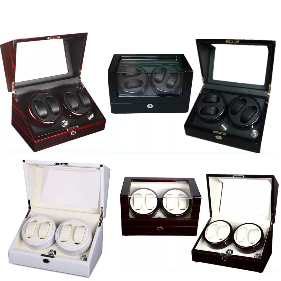 Safe Automatic Watch Winder Motor Lock Box 4 Grids Rotate 4 Watches Cyclotest Case caja reloj automatic relogio em mdf cofres jinbei em 35x140 grids soft box page 3