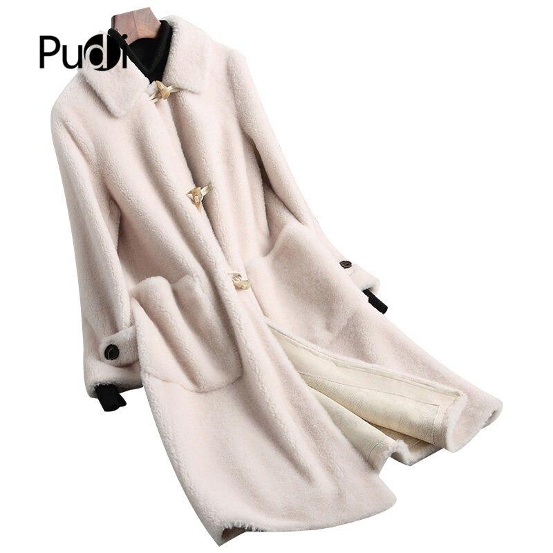 Der GüNstigste Preis Pudi A68130 Frauen Winter Echte Schafe Scheren Ox Horn Schnalle Mädchen Mantel Dame Lange Jacke Mantel Neueste Technik Frauen Kleidung & Zubehör