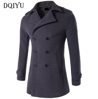 DQIYU New Wool Blends Coat Men Double Breasted Woolen Jacket Autumn Winter Slim Fit Long Pea Coat Men Windproof Jackets 4XL