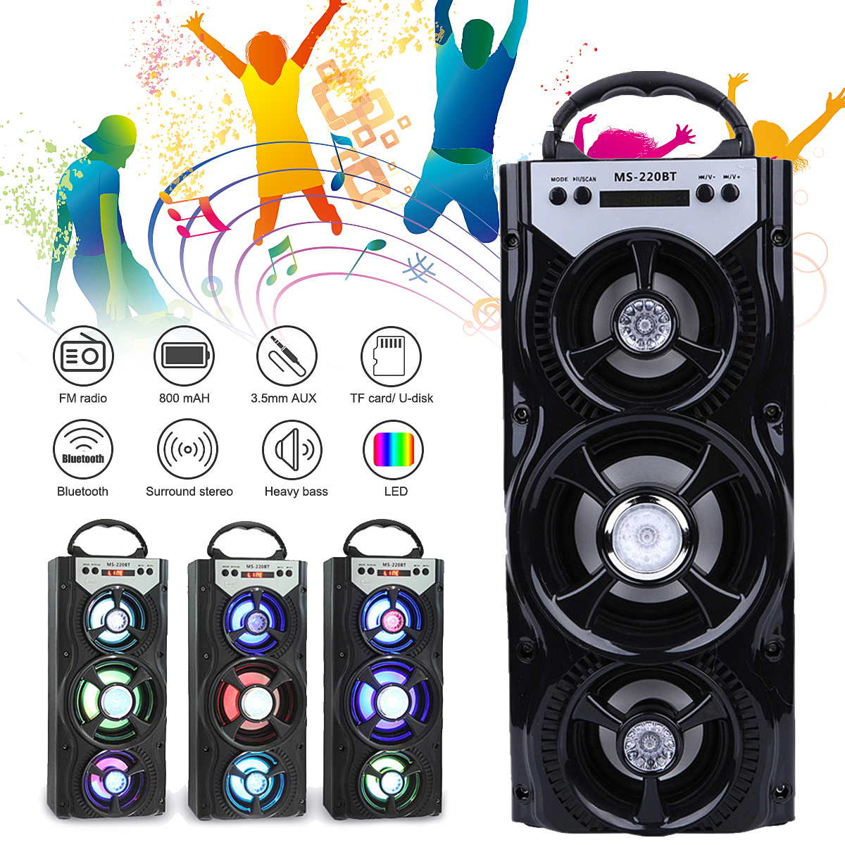 Party Camping Portable Speaker Wireless Bluetooth Speaker Outdoor Music Player Loudspeaker With LED Light FM Radio USB Charging portable wireless bluetooth speaker magic light fm usb micro sd function