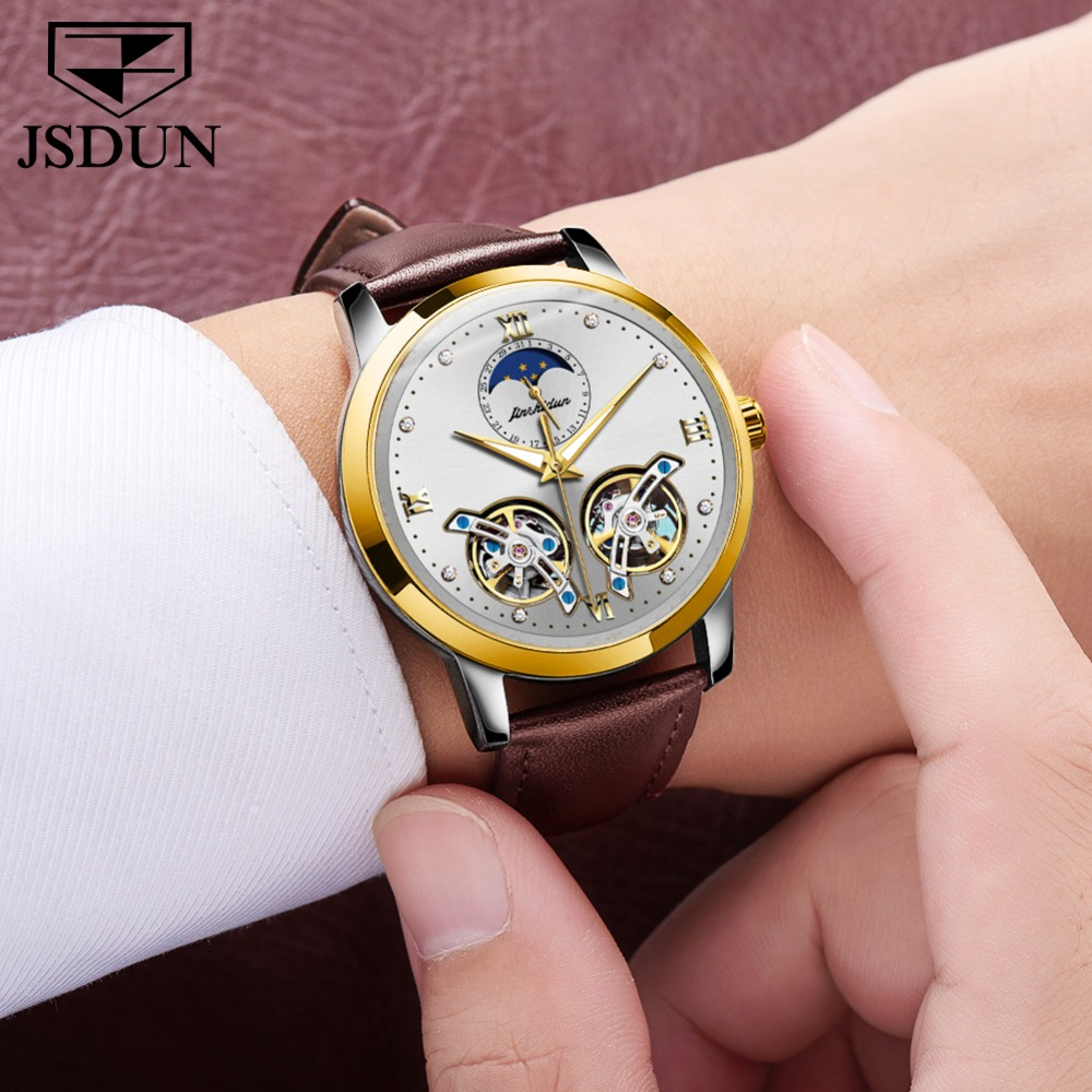 Double Tourbillon Skeleton Watch White Gold Dial Moon phase JSDUN Luxury Business Men Mechanical Wristwatch Automatic Watch 2019 - 3