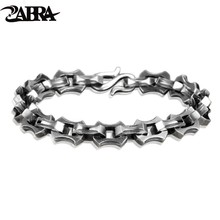 ZABRA Luxury Viking Bracelet Real 925 Sterling Silver Men Bracelet 9mm Wide Vintage Punk Heavy Chain Link Biker Bangle Jewelry 925 sterling silver bracelet bangle retro thai silver male personality silver chain magic circle evil eye bracelet punk biker