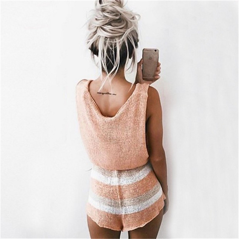 039285ffe9c HolaTeenYang Pink Beach Sleeveless Sexy Rompers Womens Jumpsuit Girls  Playsuits Lady Overalls Elegant Loose Party Women Playsuit-in Rompers from  Women s ...
