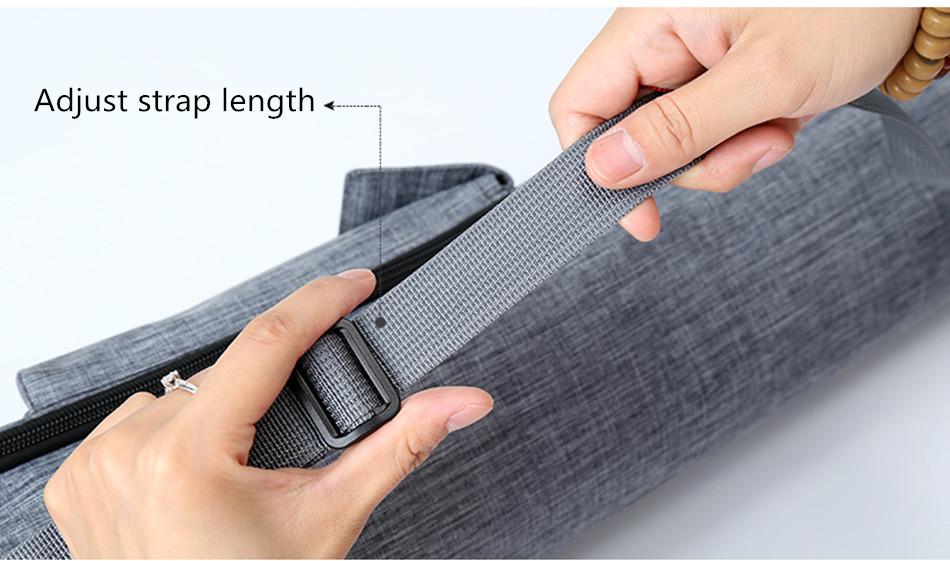 Sac pour tapis de yoga NICEGOOD gris - 2 tailles au choix - housse de transport, étuis, sac en bandoulière de qualité, résistant et durable, élégant et pratique. Longueur de la bretelle ajustable