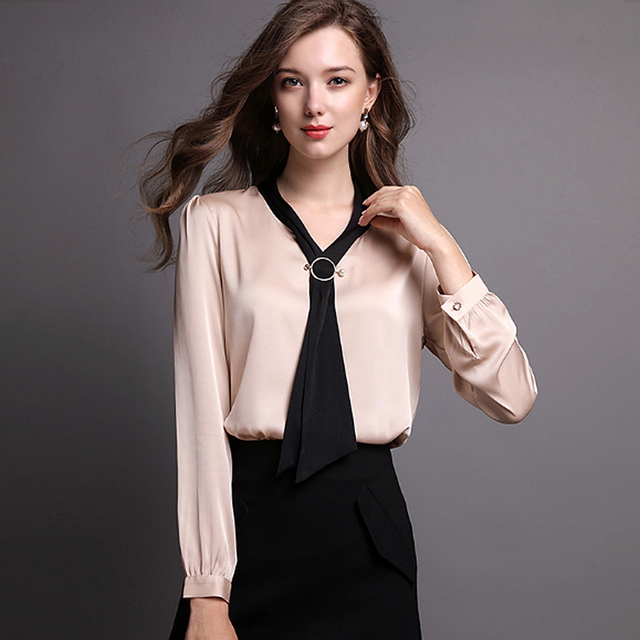 c85ba48ec12 92% Silk Blouse Women Shirt Solid Vintage Design Bow V Neck Long Sleeves 2  Colors Office Top Graceful Style New Fashion 2018