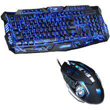 Tri Color LED Backlit Professional Gaming Keyboard Gaming Keyboard Mouse Combo 6 Color Backlight Gaming Mouse for PC Desktop(China)