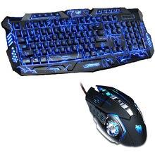 Tri צבע LED עם תאורה אחורית משחקים מקצועיים מקלדת משחקי מקלדת עכבר קומבו 6 צבע תאורה אחורית עכבר משחקים עבור מחשב שולחני