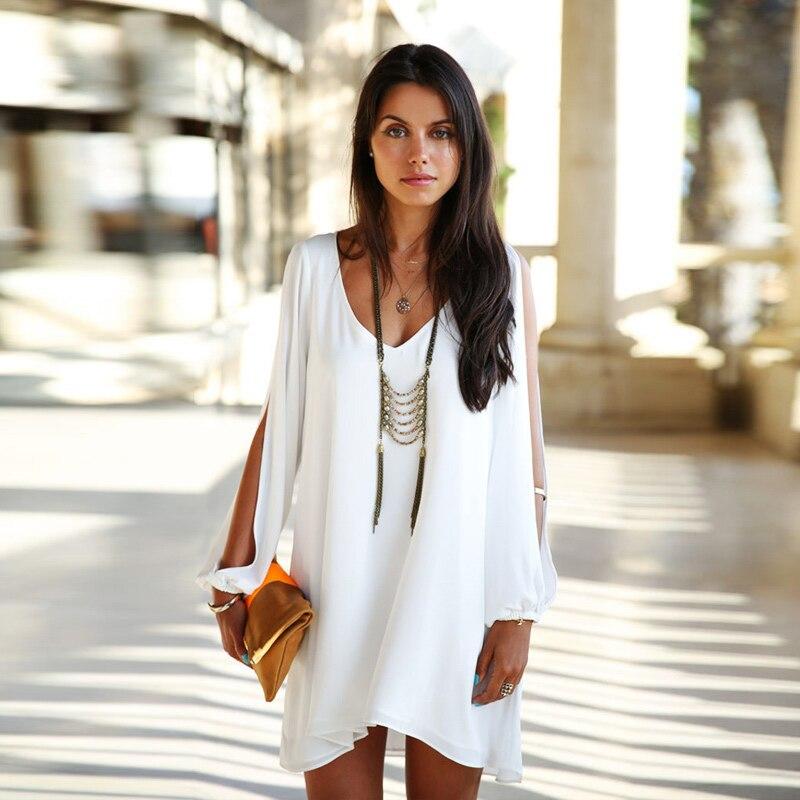 Verano moda mujeres vestido  del vestido ocasional de la gasa del verano más muj