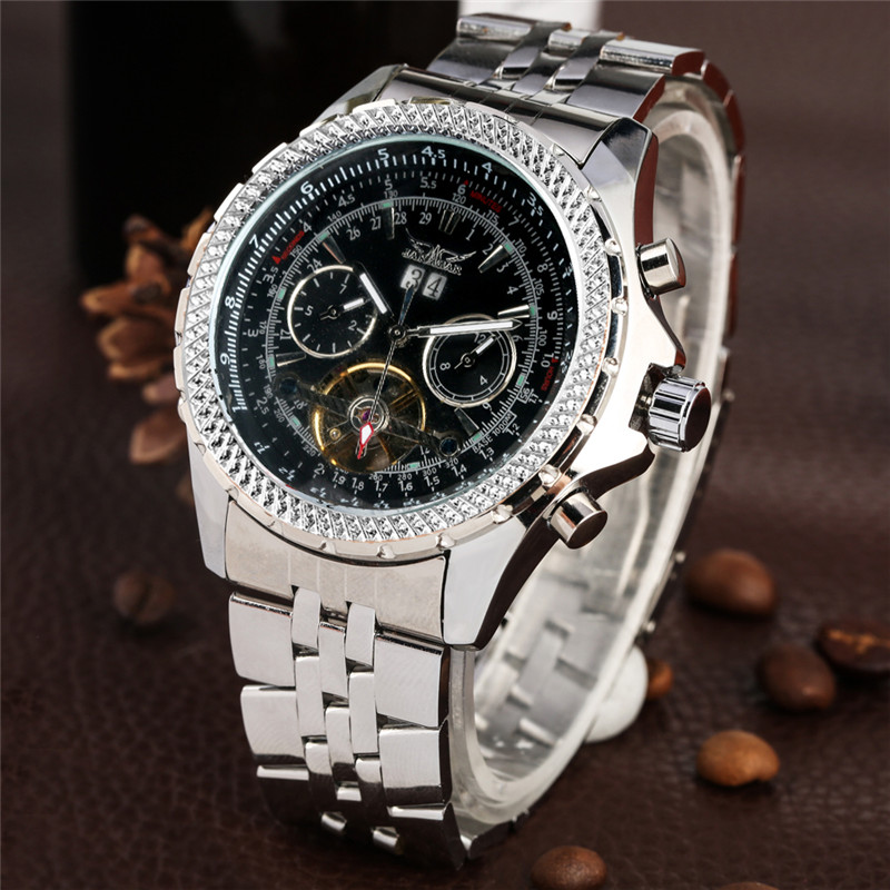 Automatic Mechanical Watches Men Self Wind For Male Large Dial With Calendar Skeleton Practical Mechanical Wristwatches Relojes
