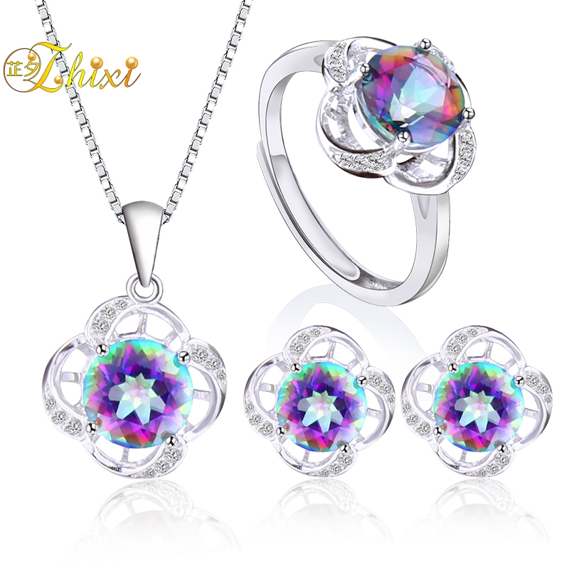ZHIXI Fine Jewelry Sets 925 Sterling Silver Necklace Pendant Earring Ring Natural Topaz Gemstone Trendy Gift For Women ROSE T240 все цены