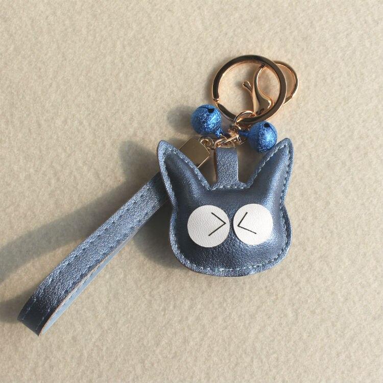 Fashion Cute PU Leather Cat Kitten Keychain Animal Key Chain Car Key Ring Key Holder Women School Bag Accessories Pendant
