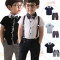 New gentleman boys short sleeve t shirt +bow+plaid bib shorts+strap suit fashion kids casual outwear summer clothes 16O101