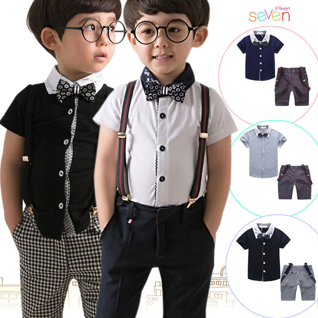 New gentleman boys short sleeve t shirt +bow+plaid bib shorts+strap suit fashion kids casual outwear summer clothes 16O101