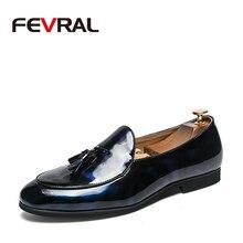 FEVRAL ยี่ห้อ 2020 ใหม่ผู้ชายคุณภาพสิทธิบัตรรองเท้าหนังผู้ชายรองเท้าขนาด 38 47 หนังสีดำนุ่ม man รองเท้า