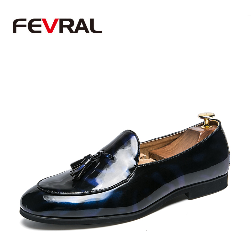 FEVRAL Brand 2019 Newly Men's Quality Patent Leather Shoes Men Wedding Shoes Size 38-47 Black Leather Soft Man Dress Shoes