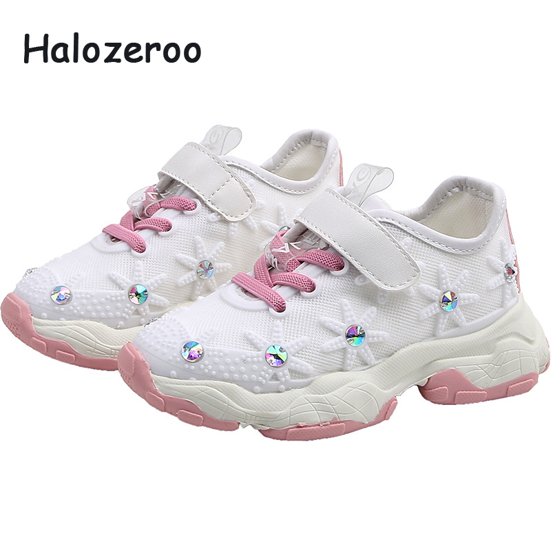 2019 Autumn Kids Sport Sneakers Baby Girls Mesh Casual Sneakers Children Chunky Sneakers White Brand Rhinestone Shoes Trainers