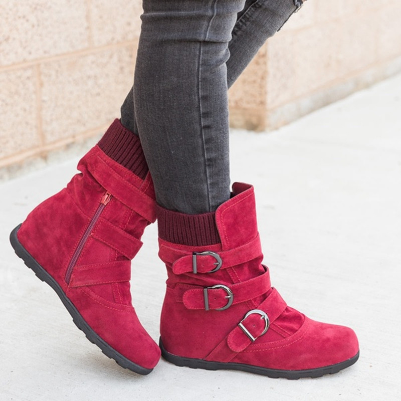 Pour Vers Le De gris Boot Bas Bottes Femelle Noir Cheville rouge Taille 35 marron Q680 43 Solide Hiver Boucle Femmes Plus Neige Plat La Chaud Chaussures wIq8txY