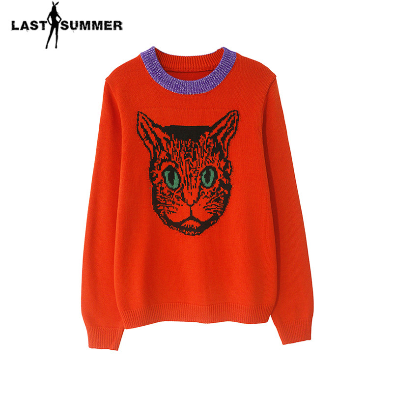 New Spring 2018 Women Sweater Pullovers Casual Warm Fashion Design Female Knitted Sweater Cat Pullover Sweater Lady