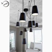 Grande e moderno nero/ragno bianco intrecciato lampada a sospensione DIY 10 teste Grappoli di Hanging sfumature tessuto lampada da soffitto e14 illuminazione