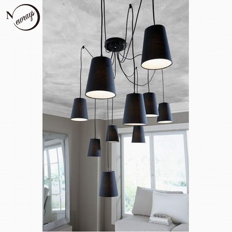 Modern Large Black White Spider Braided Pendant Lamp Diy