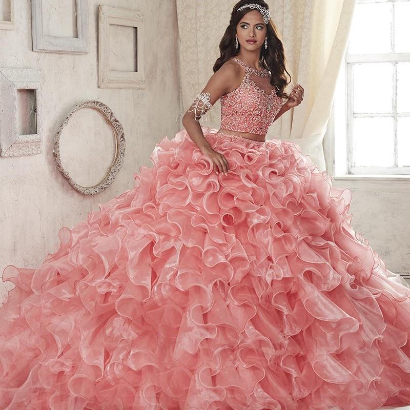 Two Piece Quinceanera Dresses Pink Scoop Organza Ball Gown Prom Dresses 2017 Sleeveless Zipper Vestidos De 15 Anos Custom Made