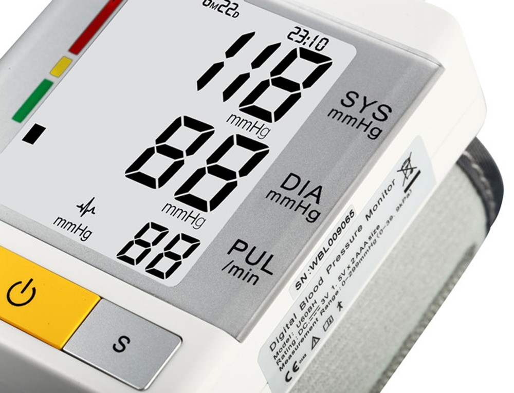 AOEOM Household Health Monitor , Portable Digital Wrist Blood Pressure Pulse Monitor Sphygmomanometer tonometer For Health Care 15