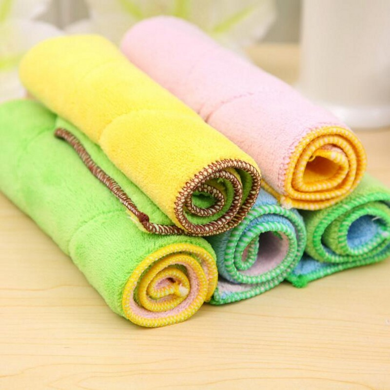 2PCS/LOT Creative Home Portable Kitchen Wiping Tables Rag Green Dishwashing Sided Microfiber Absorbent Cleaning Cloth Desktop